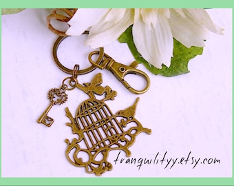 Bird Cage Key Ring , Bronze Vintage Style Bird Cage N Key,  By: Tranquilityy