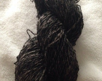 Black/Gray Wensleydale Bond wool hand spun yarn fingering weight