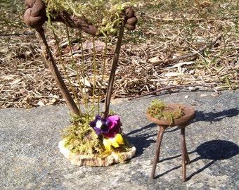 Fairy Harp Dollhouse Miniature Fairy Wedding Cake Topper Doll House Twig Furniture Fae