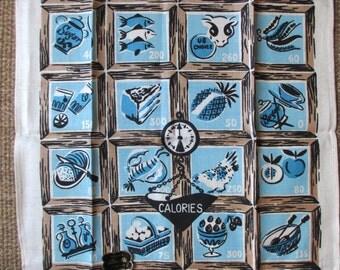 Calories. Vtg Bucilla linen kitchen towel / MWT / blue brown / shabby cottage chic / unused