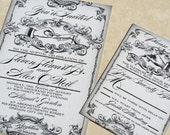NEW! Puttin on the Ritz, Great Gatsby themed wedding invitation set, Gatsby Wedding Invites. Roaring 20s wedding invitations.