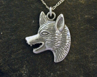 Sterling Silver Wolf Head Pendant on a Sterling Silver Chain