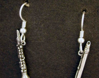 Sterling Silver Clarinet Earrings on Heavy Sterling Silver French Wires