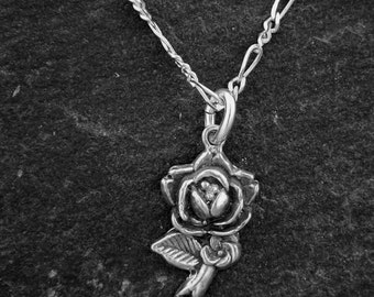 Sterling Silver Rose Pendant on a Sterling Silver Chain