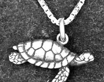 Sterling Silver Small Sea Turtle Pendant on a Sterling Silver Chain
