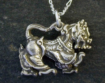 Sterling Silver  Foo dog Pendant on a Sterling Silver Chain