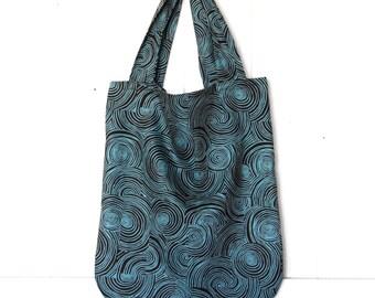 Tote Bag - Organic Cotton Twill - Turquoise Brown Print - Eco Friendly - Market Bag - Cloth Bag