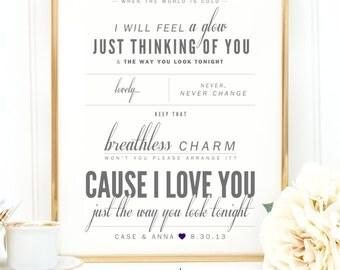 "Frank Sinatra ""The Way You Look Tonight"" - Valentine's, Wedding Gift, Cotton, Paper Anniversary Gift, Song Lyrics, Art Print"