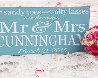 Sandy Toes Salty Kisses Mr. and Mrs., Wood Sign, Personalized Wedding Sign, Beach Wedding Sign,Wedding Gift, Beach Wedding Decor,Your Colors