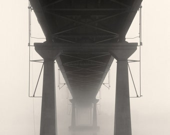 black and white photography, architecture photography, industrial photography, bridge photography, fog photography, modern, industrial