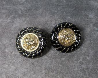 Vintage Lyon Head Earrings. Black Enamel and Gold Plated, Pierced