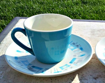 Trio of Mid Century Modern Atomic Blue Heaven China Tea Cups and Saucers - Three Aqua Blue Turquoise Coffee Cups with Matching Saucers