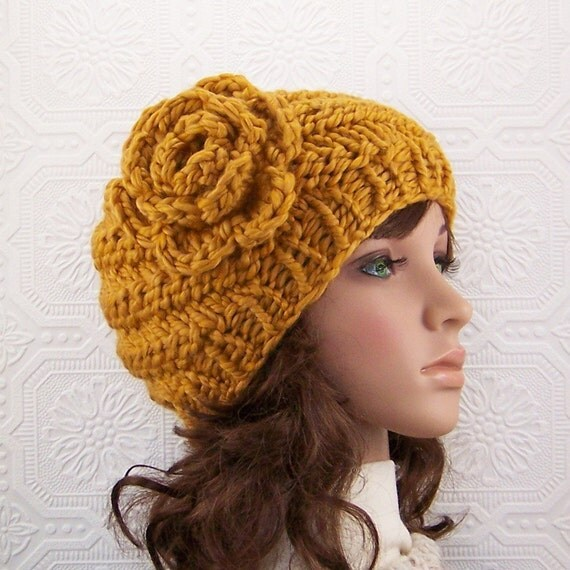 Knit hat - Womens hat with flower - Cloche hat - honey gold butterscotch - Womens Accessories - gift for her -made to order