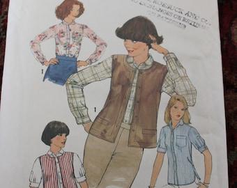 Vintage Simplicity Pattern 8065 Shirt and Vest Size 14 Dated 1977 Uncut