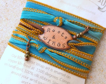 ROOTS AND WINGS, silk wrap bracelet- roots and wings. country girl,boho wrap bracelet- wings to fly, yoga wrap, boho, wrap bracelet