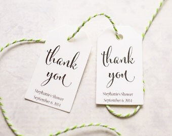 Wedding Favor Tags - Personalized Thank You, Bridal Shower Favors, Party Favor Tags, Gift Wrap - Set of 25 (SMGT-CAN)