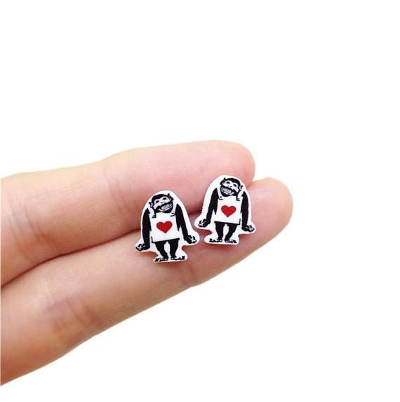 Banksy Happy Monkey Earrings