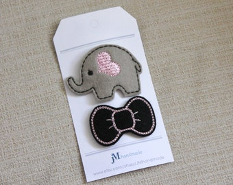 Wool Elephant clip and pink and black bow clip 100% Wool Felt baby toddller clip set