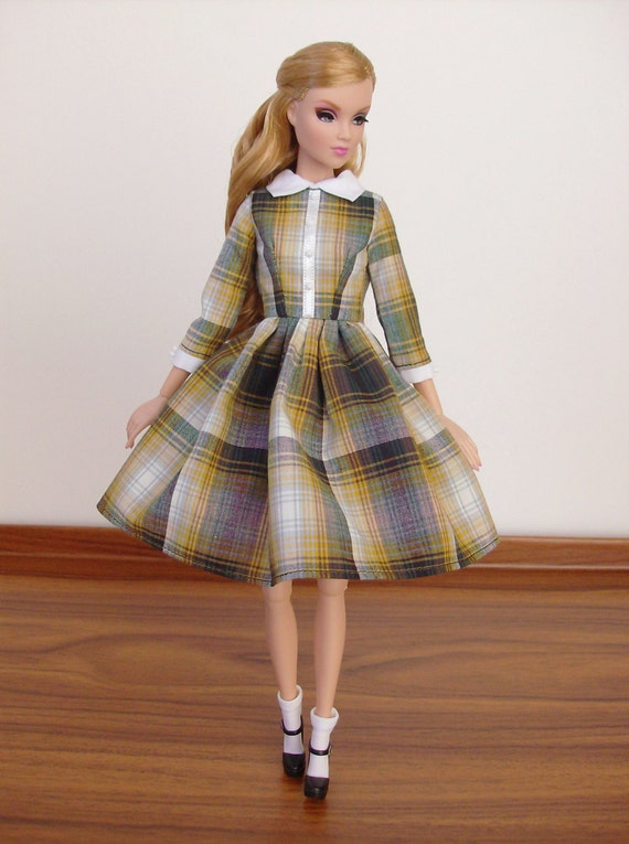 Yellow and Grey Plaid dress with white collar for by SquishTish