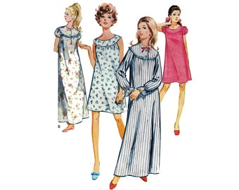 "60s Women's Nightgown Nightie Night Dress Pajamas Vintage Sewing Pattern Sizes 8 10 Bust 31.5-32.5"" (80-83 cm) Style 2260 S"