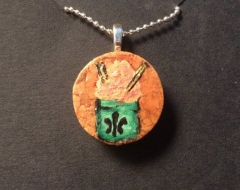 Hand Painted Snoball Wine Cork Pendant Necklace