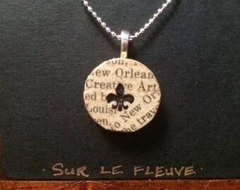 New Orleans Fleur de Lis Cork Pendant Necklace