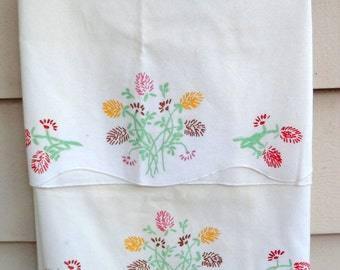 Vintage Hand Painted Pillowcases - Set of 2 - Thistles in Pinks, Yellows, Greens and Browns