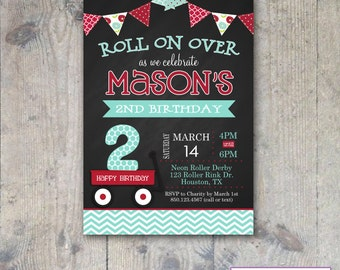 CHALKBOARD RED WAGON 5x7 Birthday Invitation Boy Printable