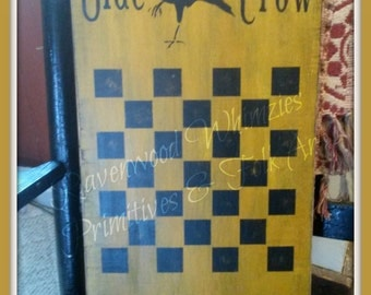 Primitive Folk Art Game Board, Primitive Checkerboard, Wood Gameboard