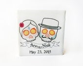 wedding favors Day of the Dead, 80 sugar skull tile magnets