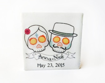 wedding favors Day of the Dead, 50 sugar skull tile magnets
