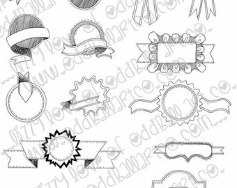 Digi Stamp Digital Instant Download Set of 14 Hand Drawn Badges and Banners 2 Files (png & jpeg) ~ Image No. 203 by Lizzy Love