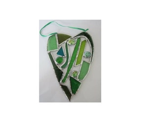 Green Stained Glass Heart Suncatcher Unique Wedding Anniversary Housewarming Home Decor