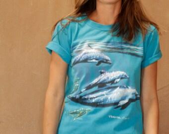 90s PUNK dolphin tie dye slouchy t shirt top
