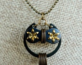 Bicycle Owl Necklace Starry Eyed Brass Bronze & Steel