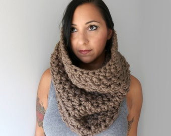 Chunky Bella Cowl, Taupe Chunky Oversized Cowl, Caramel Latte Crochet Cowl, Open Style Fall fashion Accessories