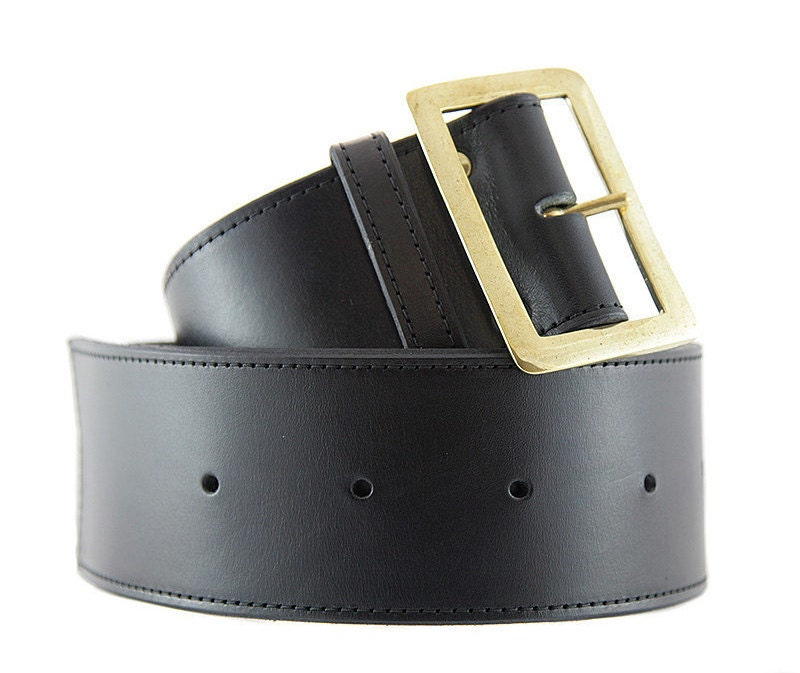 Black Leather Belt Extra Wide Handmade Melbourne