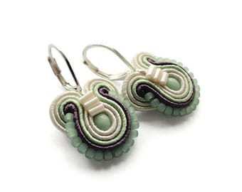 Mint Earrings Green Earrings Green Mint Drop Earrings Green Mint Dangle Earrings Pastel Earrings Mint Earings Green Drop Soutache Earrings