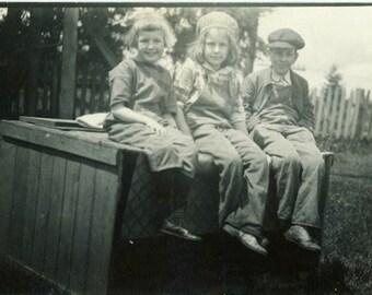 "Vintage Photo ""Neighborhood Gang"" Children Snapshot Photo Antique Photo Old Black & White Photograph Found Paper Ephemera Vernacular - 51"