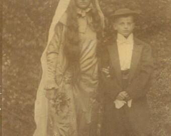 "Antique Photograph ""Albert's Much Older Bride"" Odd Weird Costume Boy Girl Dress Up Halloween Outfit Found Paper Ephemera Collectibles - 145"