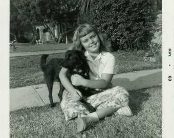 "Vintage Photo ""Rebecca's New Friend"" Animal Puppy Dog Snapshot Photo Old Antique Photo Black & White Photograph Found Paper Ephemera - 06"