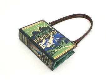 Ernest Hemingway Book Purse - Decadence Handbag- Book Clutch, Novel Bookpurse - Great gift for book lover, teacher, or Christmas Present
