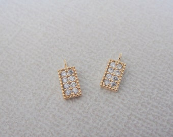 Gold rectangle charm with cubic zirconia, small dangle connectors, findings, 2 pc, PE62464