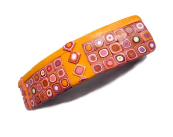 Hair Barrette, Orange Pink art hair barrette, Ponytail handmade in Polymer clay, colorful mosaic french clip, Made in France hair clip