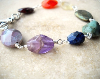 Rainbow gemstone silver bracelet: Promise Stones - pride jewelry, gemstone bracelet, rainbow bracelet, rainbow jewelry, lgbt, gift for her