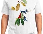 Azure Warbler Bird Retro Men & Ladies T-shirt - Gift for Bird Lovers and Ornithologist (idc048)