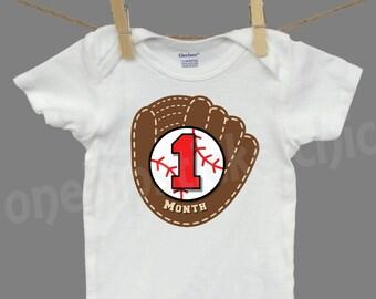 Baseball Monthly Sticker Baby Month Sticker with newborn Gerber ONESIES ® tshirt Shower Gift
