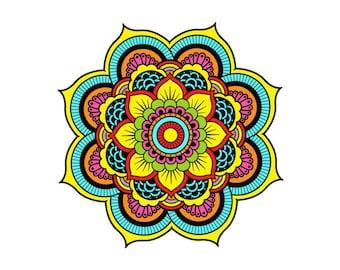 Mandala Wall Decal Full Color Namaste Indian Yoga Decal