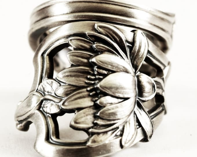 Lotus Flower Ring, Spectacular Water Lily Ring, Sterling Silver Spoon Ring, Antique Watson, Art Nouveau Ring, Adjustable Ring Size (6634)