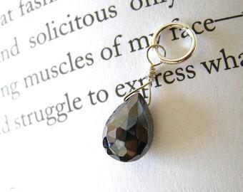 SALE Metallic Pyrope Garnet Pendant / Unique Valentine's Day Dainty Faceted Pear Drop Stone in Dark Merlot Red, January Birthstone Jewelry
